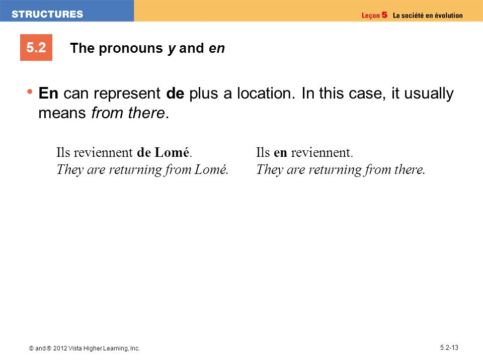 The pronouns y and en En can represent de plus a location. In this case, it usually means from there.