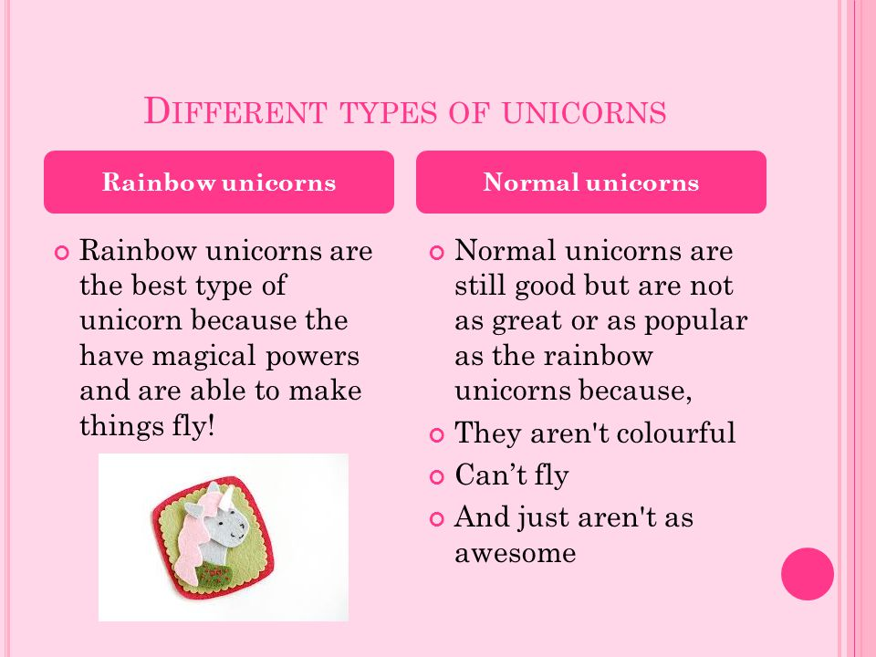 Different types of unicorns