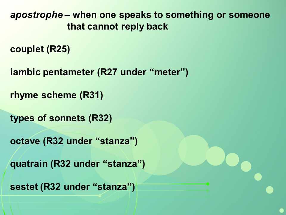 apostrophe – when one speaks to something or someone