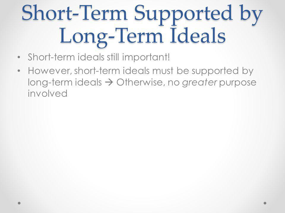 Short-Term Supported by Long-Term Ideals