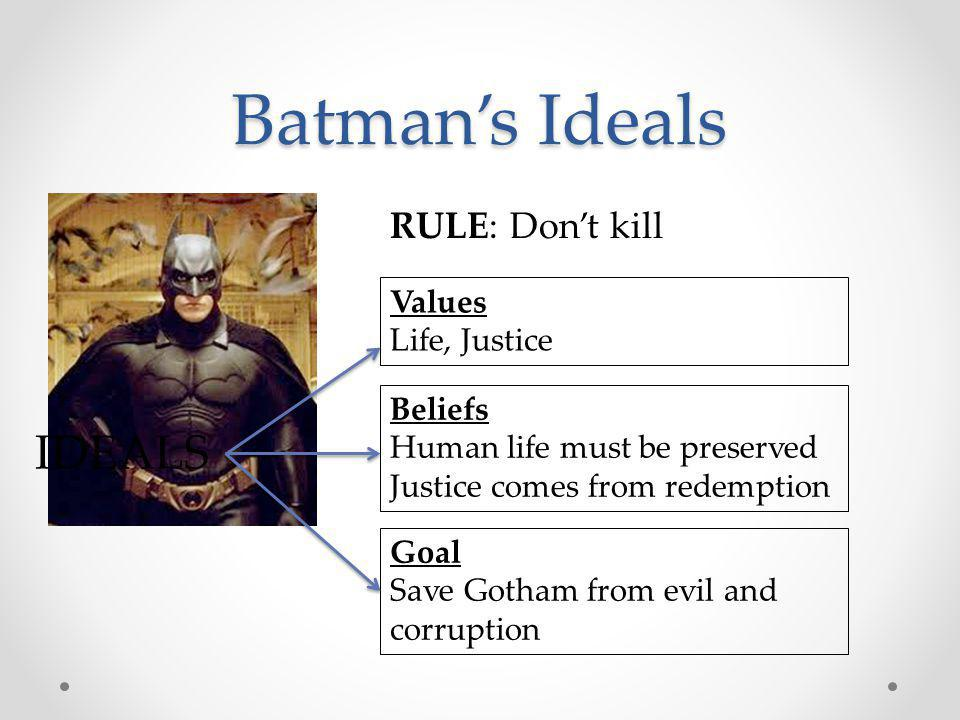 Batman's Ideals IDEALS RULE: Don't kill Values Life, Justice Beliefs