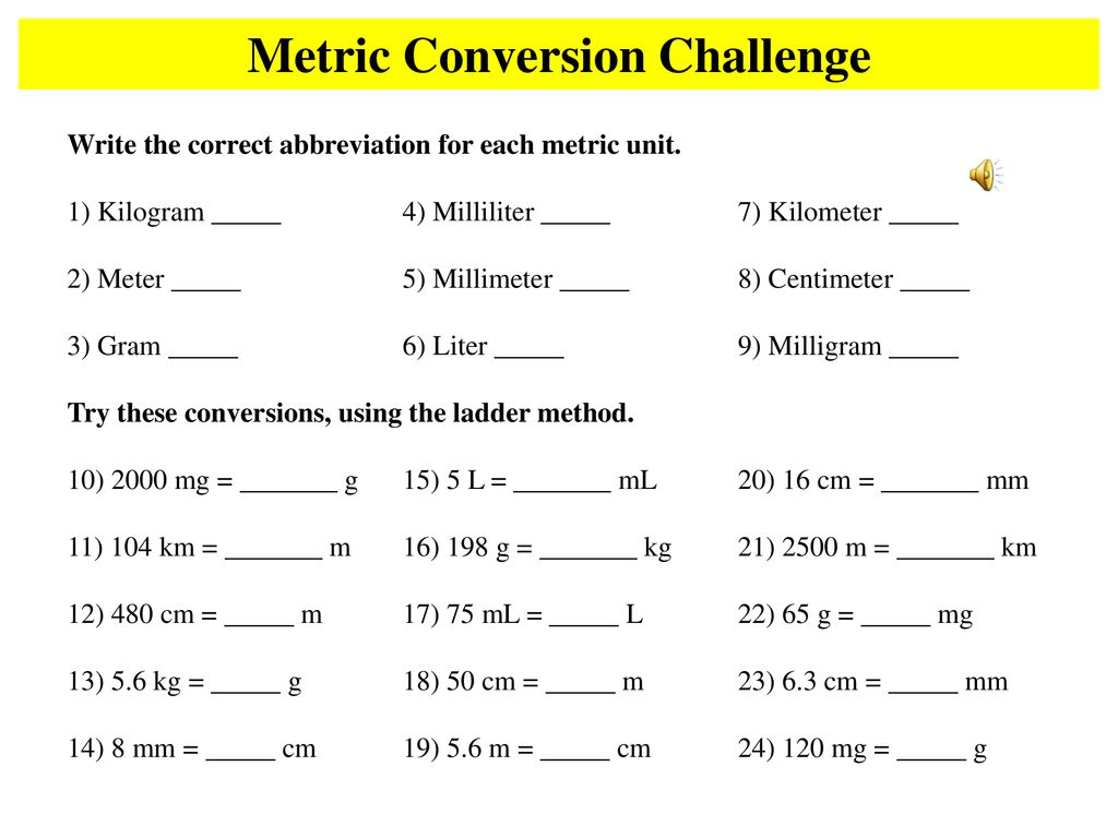 Metric Conversion Challenge