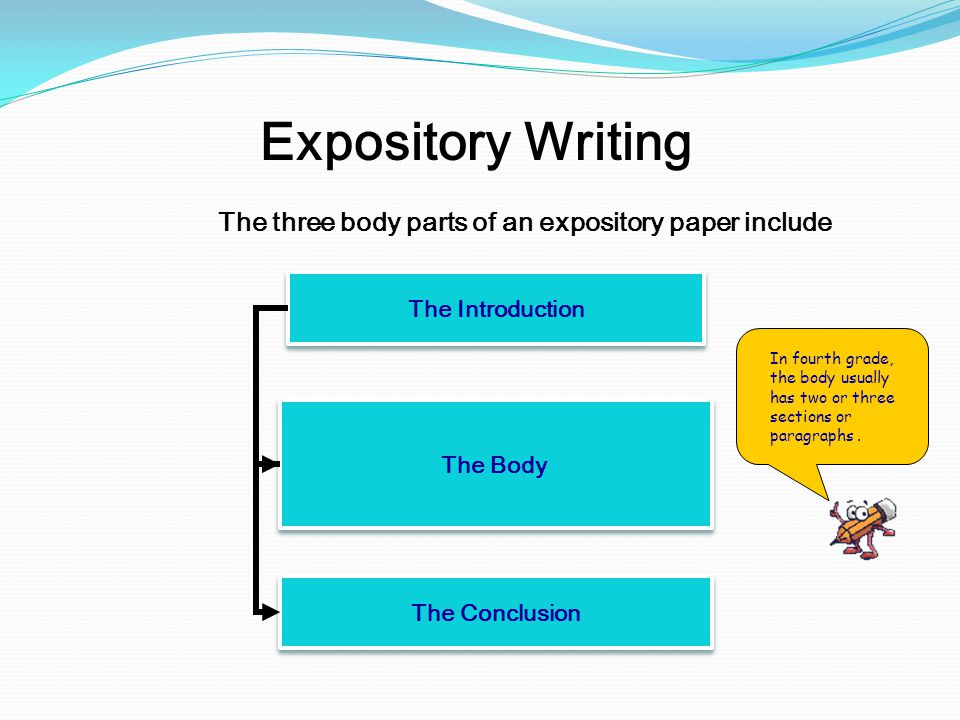 an expository essay should explain An expository essay is explaining something to the audience and in order to make the audience believe you are correct, you should use an objective and neutral tone don't wax too enthusiastic or you will sound like a sales pitch rather than an authoritative source of information.