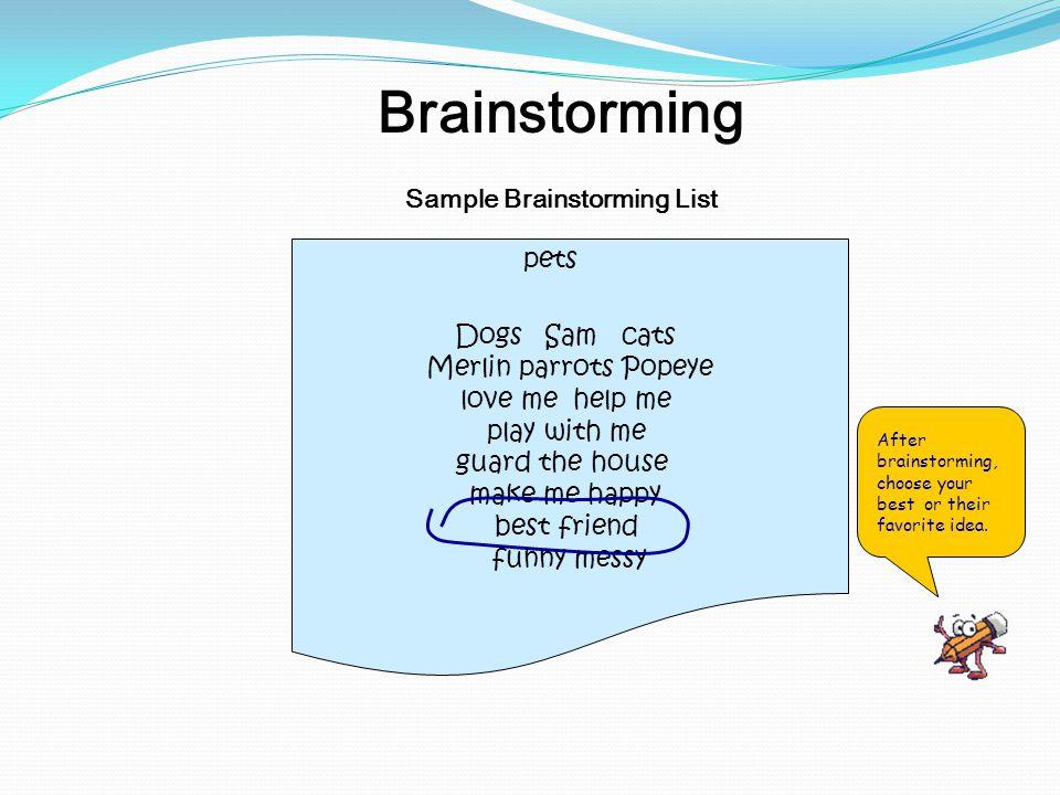 Sample Brainstorming List