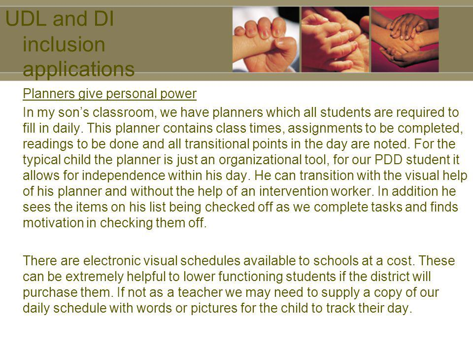 UDL and DI inclusion applications