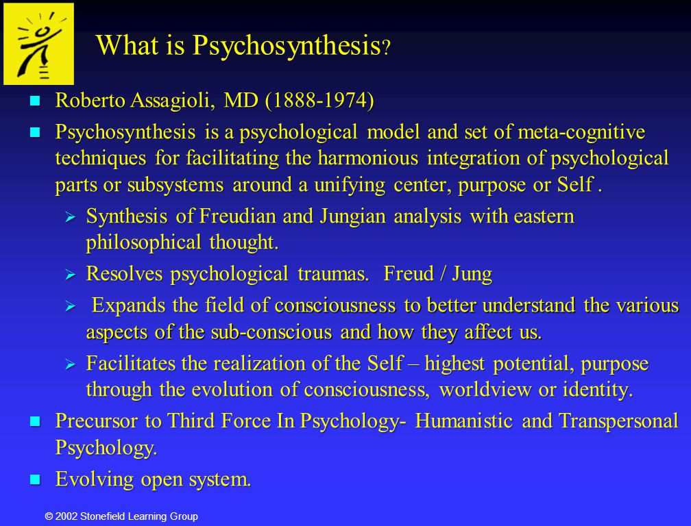 "psychosynthesis unifying center Opening the door to creativity: a psychosynthesis approach  center, a ""unifying and controlling principle of our life"" (p 21, author's italics)."