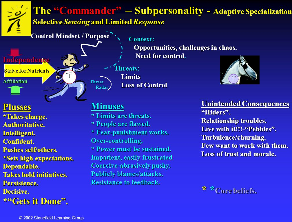 Agile Communications The Commander – Subpersonality - Adaptive Specialization Selective Sensing and Limited Response.