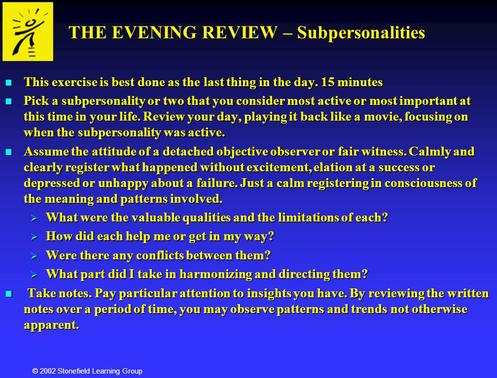 THE EVENING REVIEW – Subpersonalities