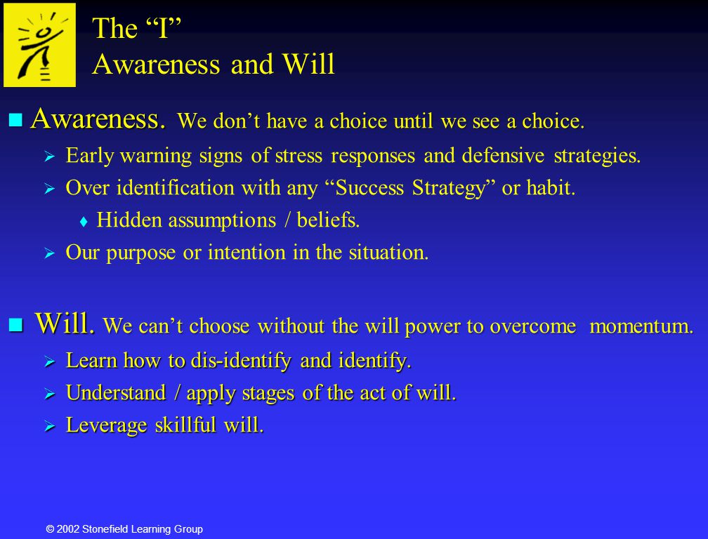 The I Awareness and Will