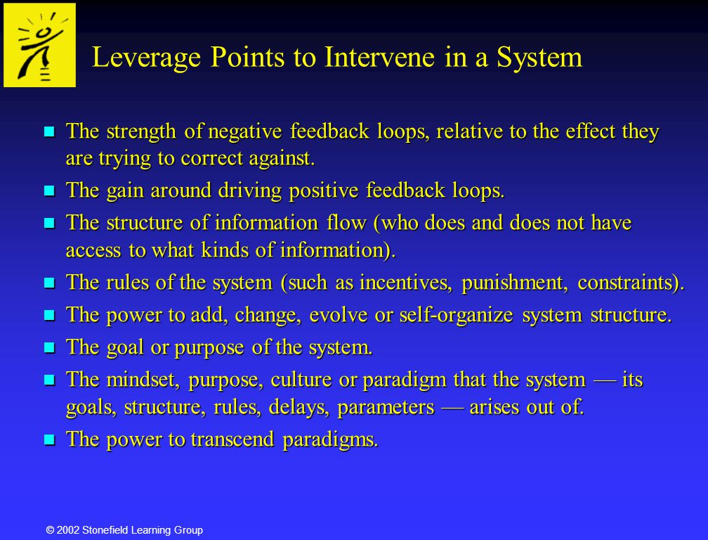 Leverage Points to Intervene in a System