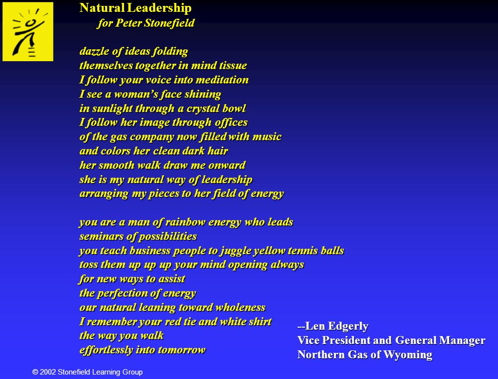 Natural Leadership for Peter Stonefield dazzle of ideas folding