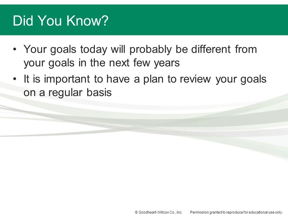 Did You Know Your goals today will probably be different from your goals in the next few years.
