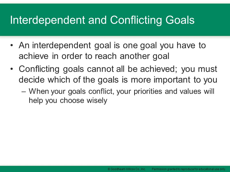 Interdependent and Conflicting Goals