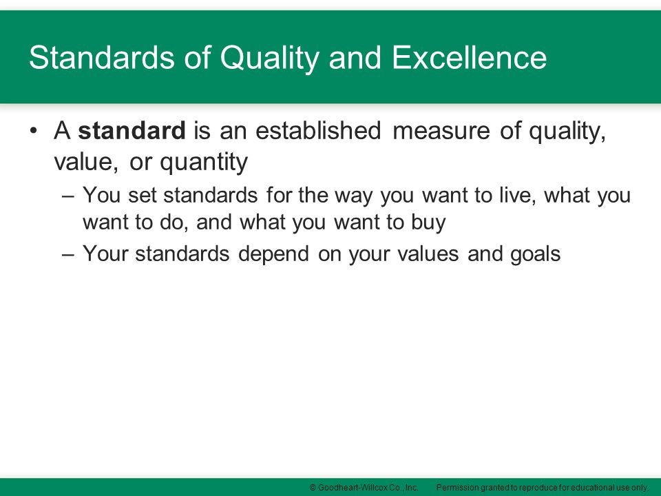Standards of Quality and Excellence