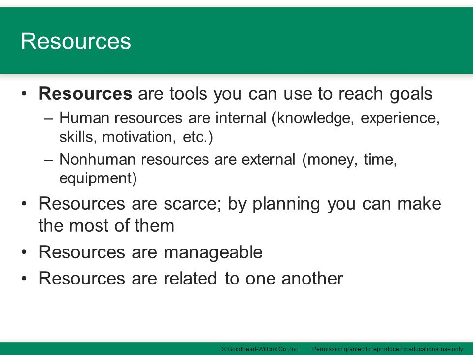 Resources Resources are tools you can use to reach goals