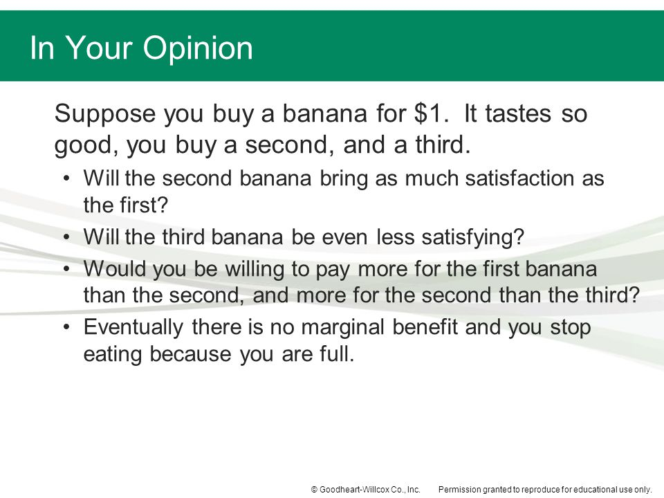 In Your Opinion Suppose you buy a banana for $1. It tastes so good, you buy a second, and a third.