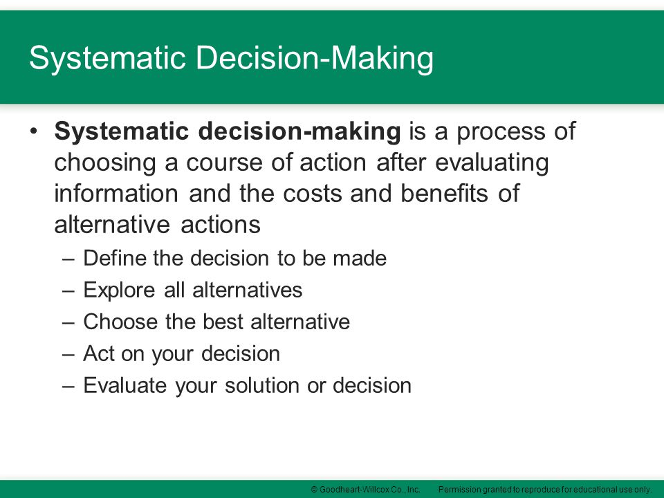 Systematic Decision-Making