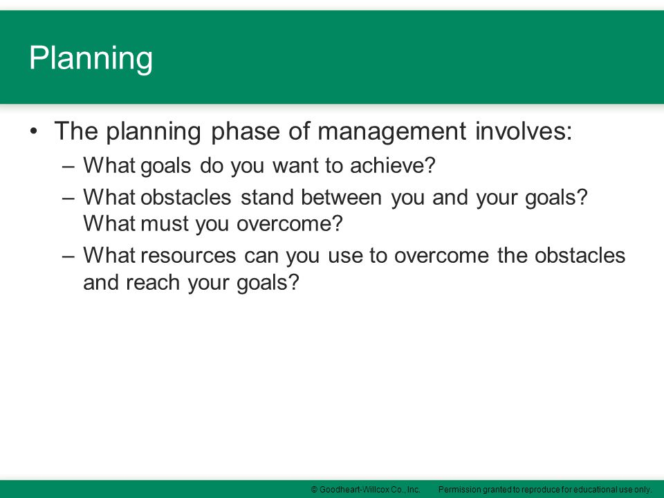 Planning The planning phase of management involves: