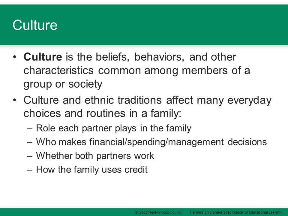 Culture Culture is the beliefs, behaviors, and other characteristics common among members of a group or society.