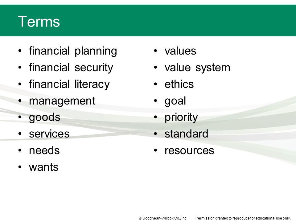 Terms financial planning financial security financial literacy