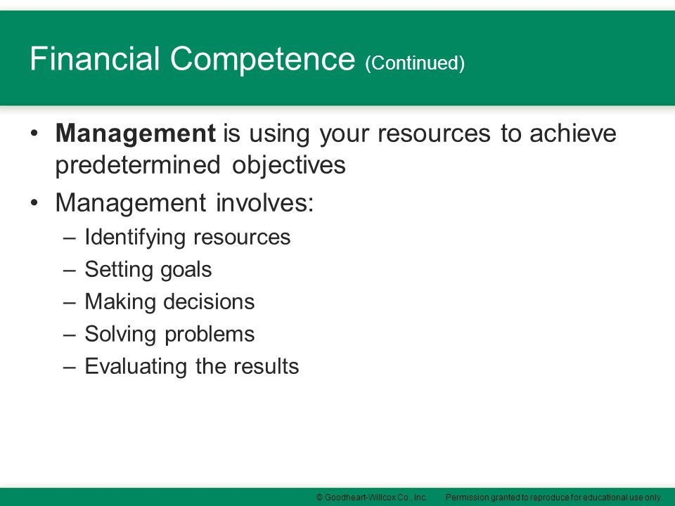 Financial Competence (Continued)