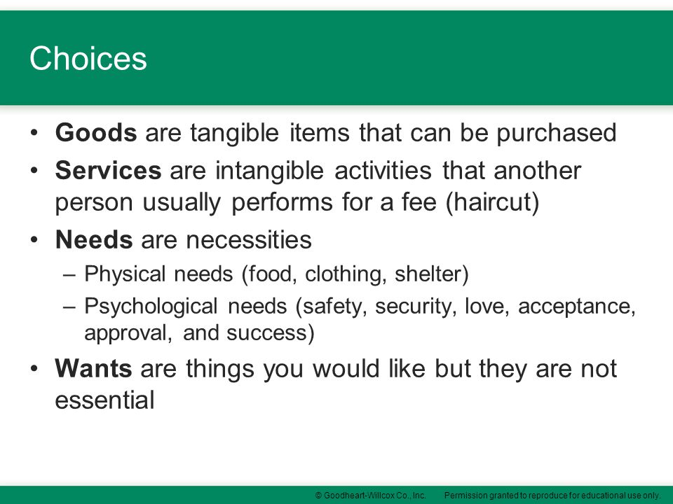 Choices Goods are tangible items that can be purchased