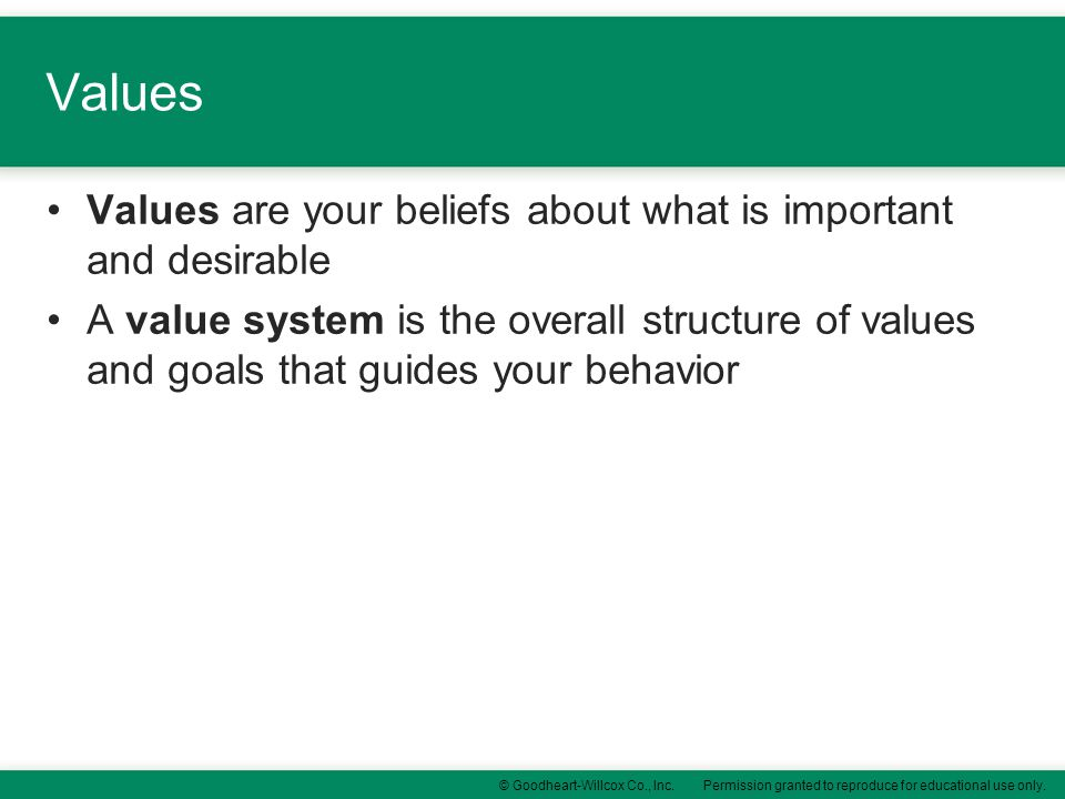Values Values are your beliefs about what is important and desirable