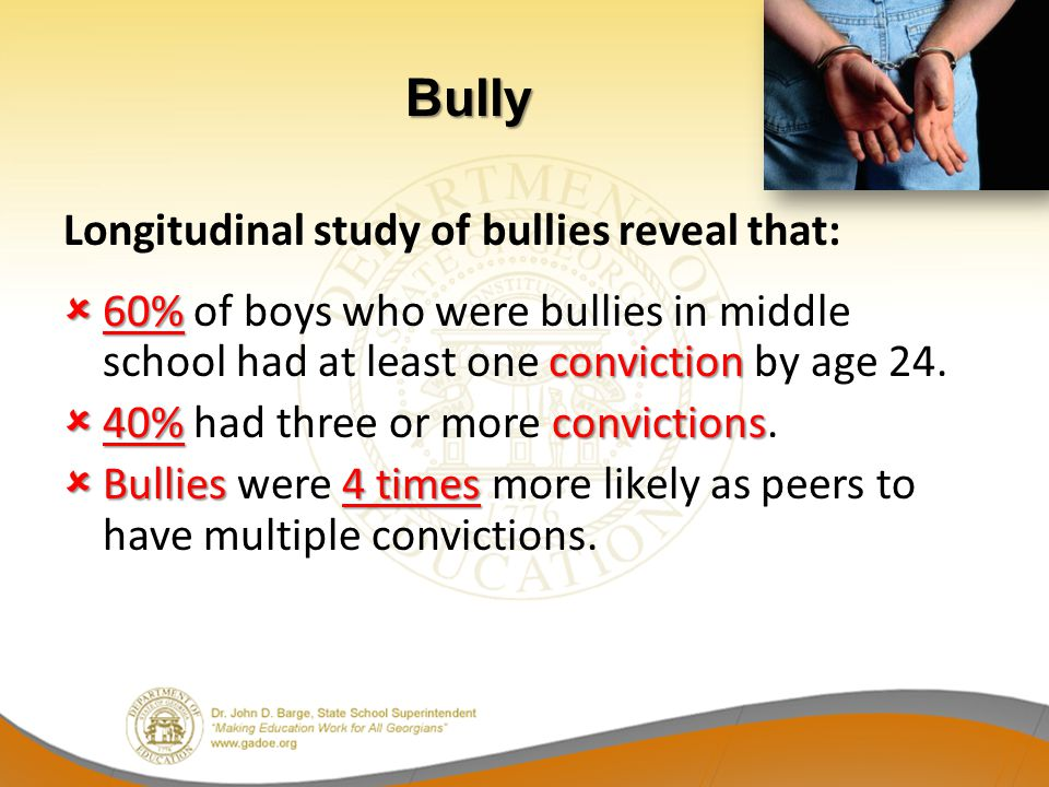 Bully Longitudinal study of bullies reveal that:
