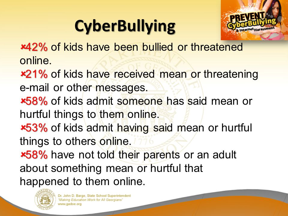 CyberBullying 42% of kids have been bullied or threatened online.