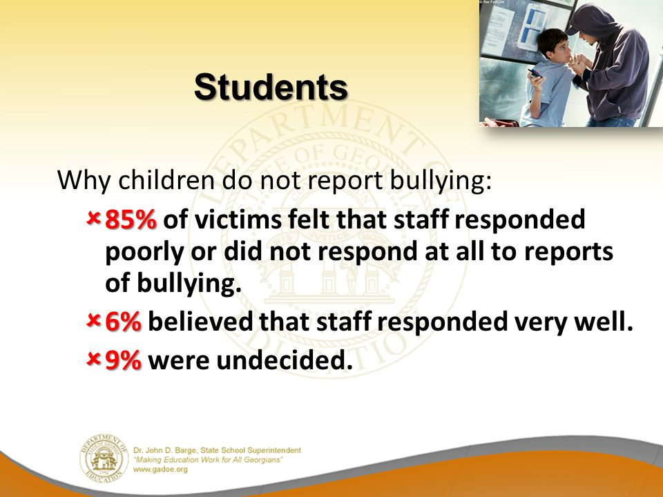 Students Why children do not report bullying: 85% of victims felt that staff responded poorly or did not respond at all to reports of bullying.