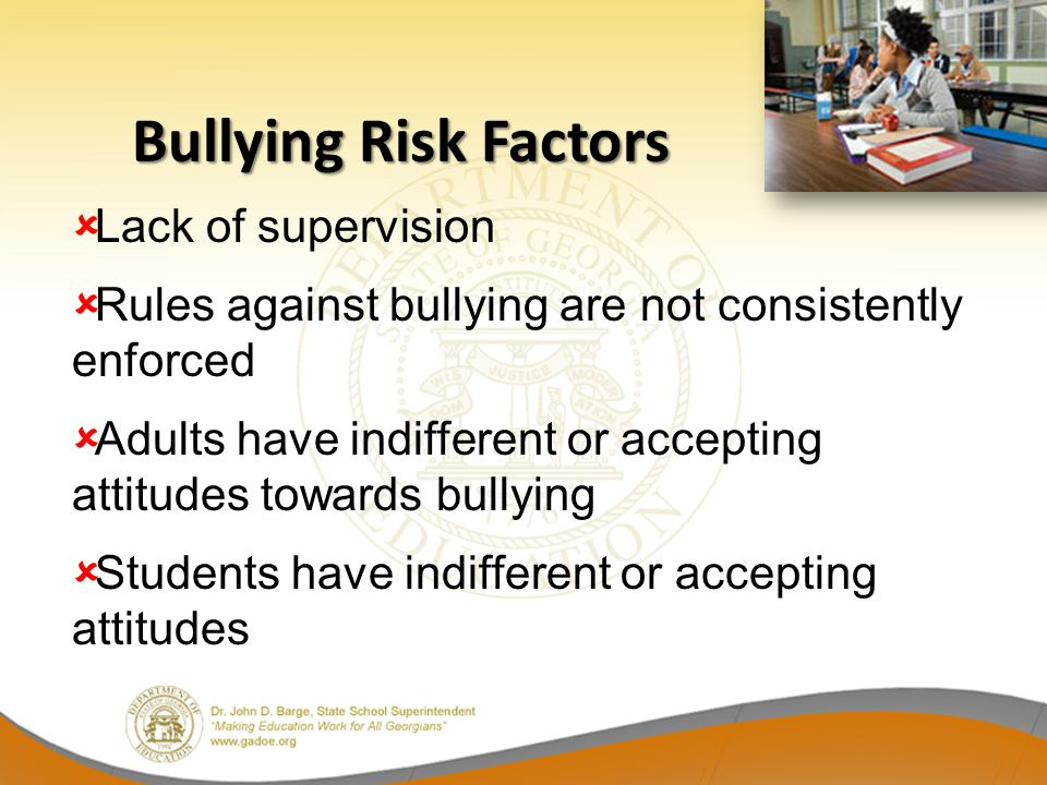 Bullying Risk Factors Lack of supervision