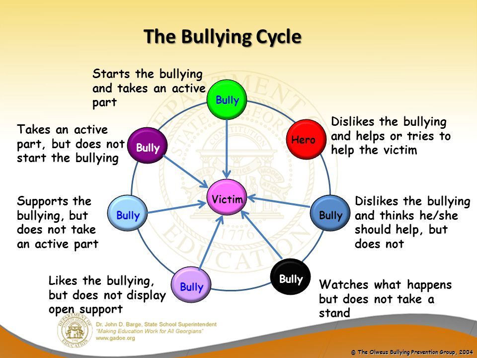 The Bullying Cycle Starts the bullying and takes an active part