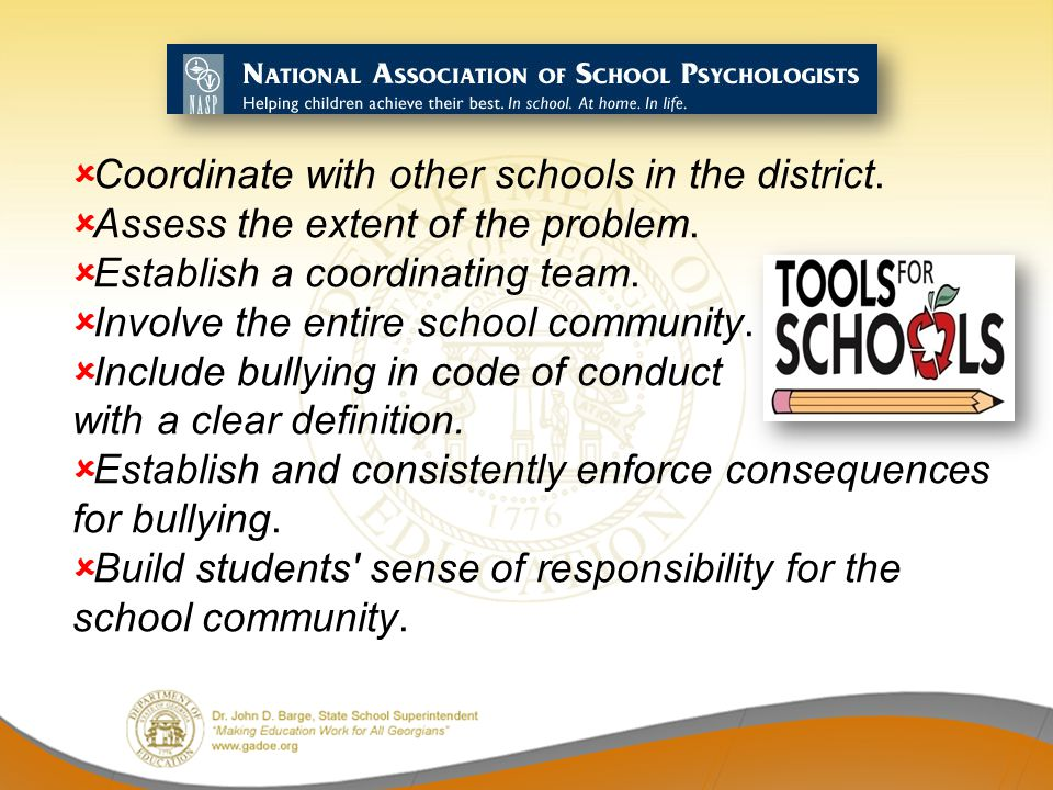 Coordinate with other schools in the district.