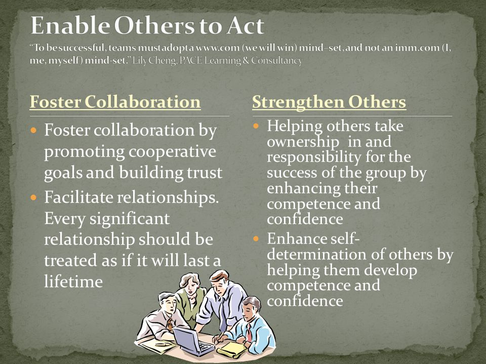 Enable Others to Act To be successful, teams must adopt a www