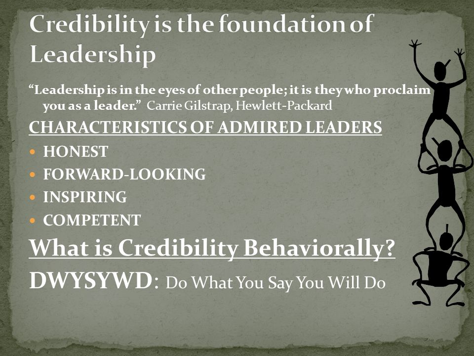 Credibility is the foundation of Leadership