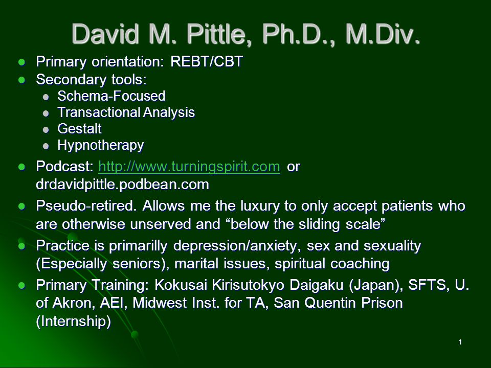 David M. Pittle, Ph.D., M.Div. Primary orientation: REBT/CBT