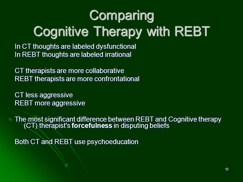 Comparing Cognitive Therapy with REBT