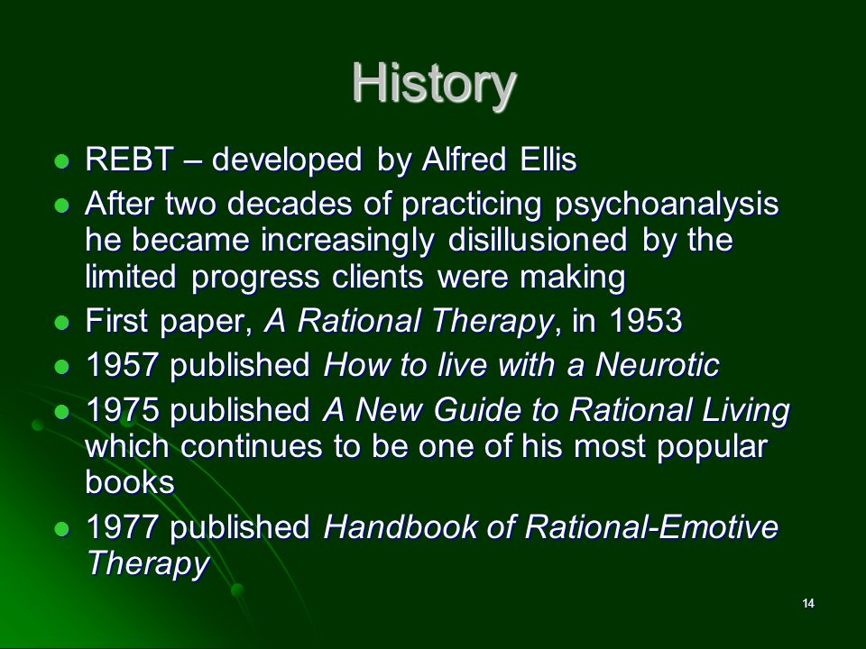 History REBT – developed by Alfred Ellis