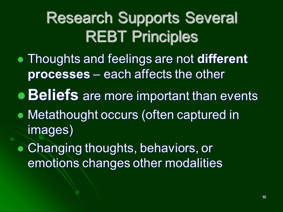 Research Supports Several REBT Principles