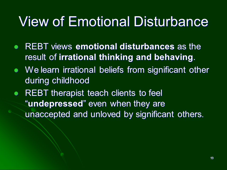 View of Emotional Disturbance