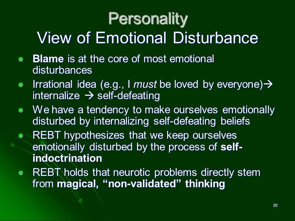 Personality View of Emotional Disturbance