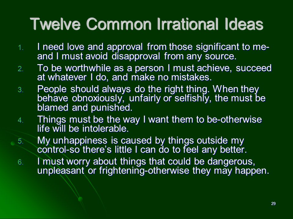 Twelve Common Irrational Ideas