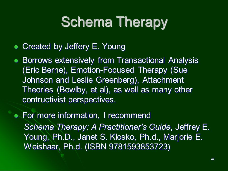 Schema Therapy Created by Jeffery E. Young