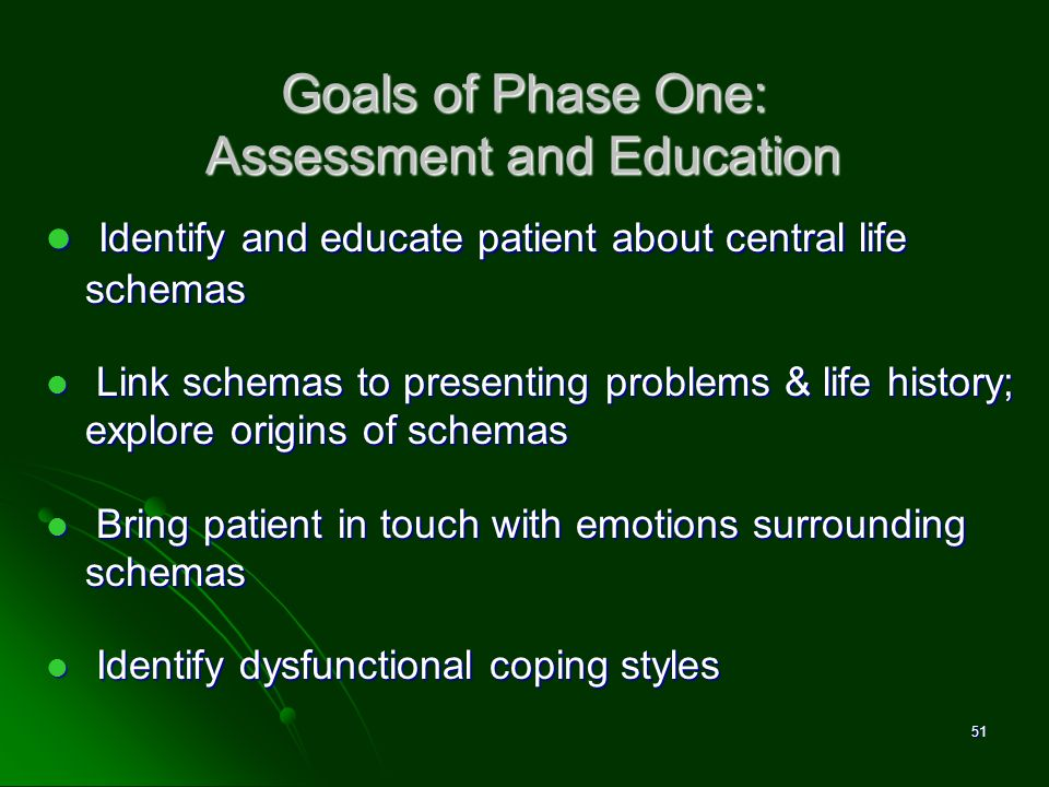 Goals of Phase One: Assessment and Education