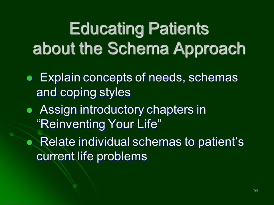 Educating Patients about the Schema Approach