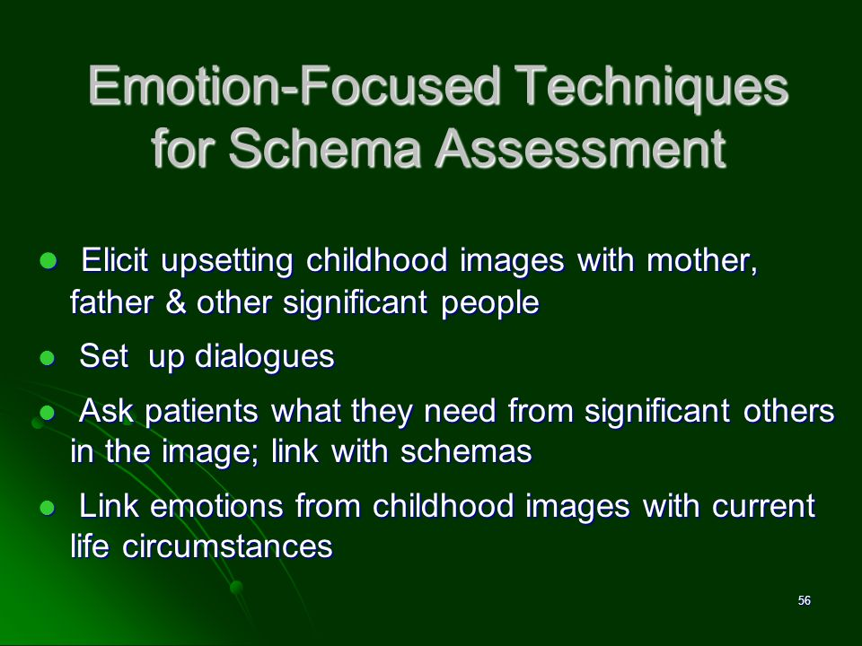 Emotion-Focused Techniques for Schema Assessment