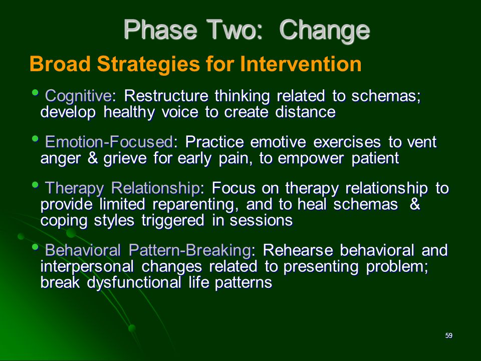 Phase Two: Change Broad Strategies for Intervention