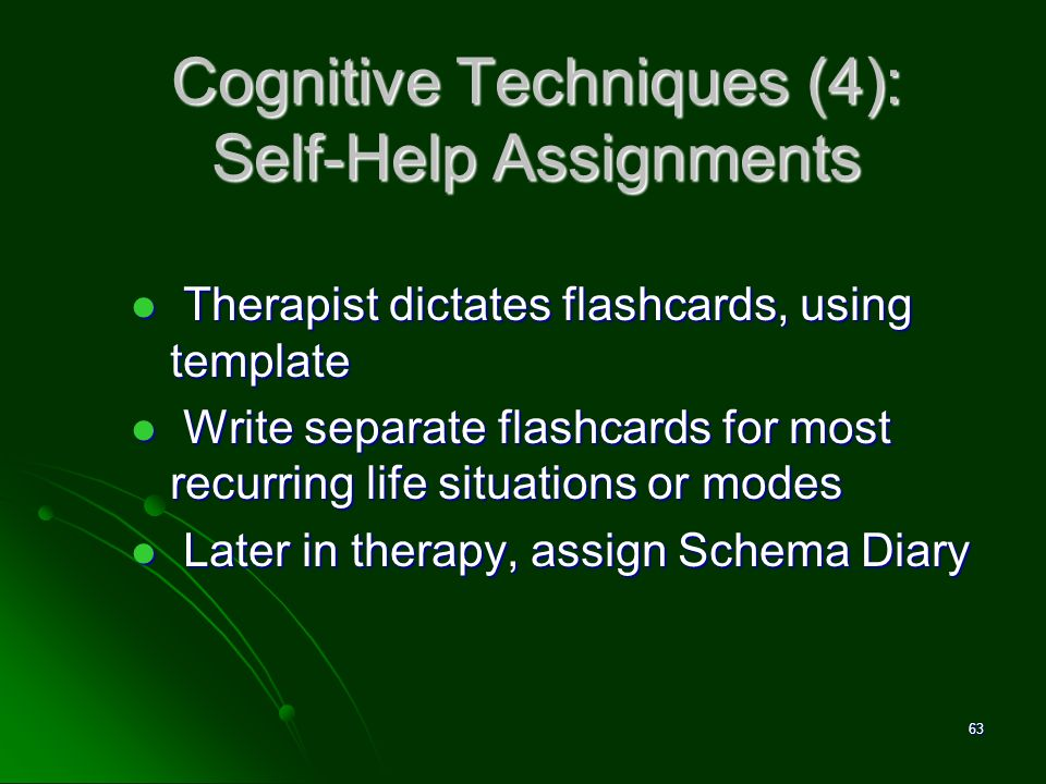 Cognitive Techniques (4): Self-Help Assignments