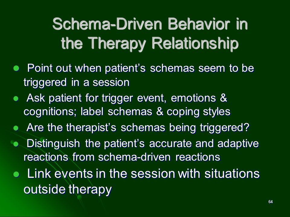 Schema-Driven Behavior in the Therapy Relationship