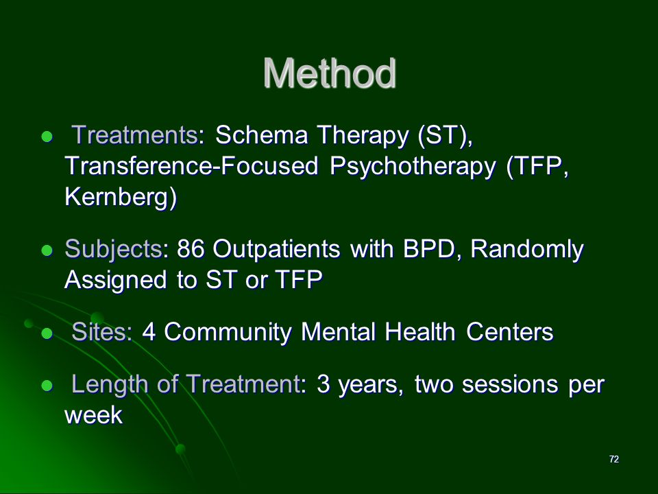 David M. Pittle, Ph.D. Method. Treatments: Schema Therapy (ST), Transference-Focused Psychotherapy (TFP, Kernberg)